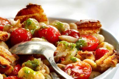 salade van reuze bonen en tomaten