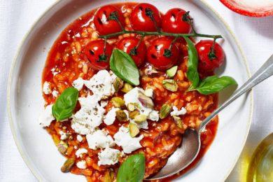 Tomatenrisotto met geitenkaas en gepofte tomaat