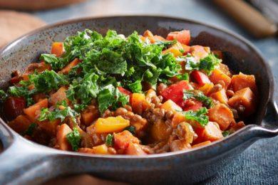 vegetarisch stoofpotje met zoete aardappel