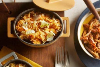 zoete-aardappelstamppot met spitskool en shoarma