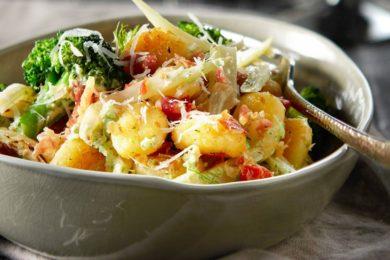 Gnocci met broccoli, venkel en pancetta
