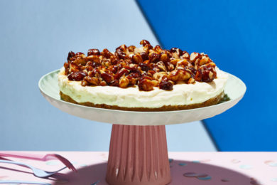 stroopwafel-roomtaart met notenkaramel