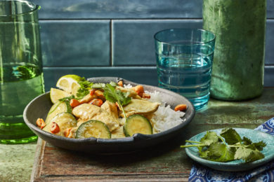 Thaise groene cury met kip en cashewnoten