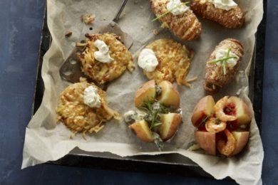 gepofte en hasselback aardappels