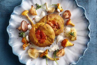 scones van zoete aardappel met paddenstoelen